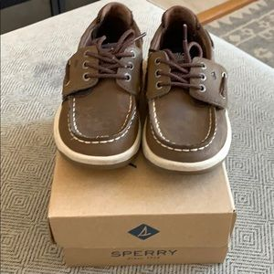 Sperry little boy's 10 M top-siders brown velcro